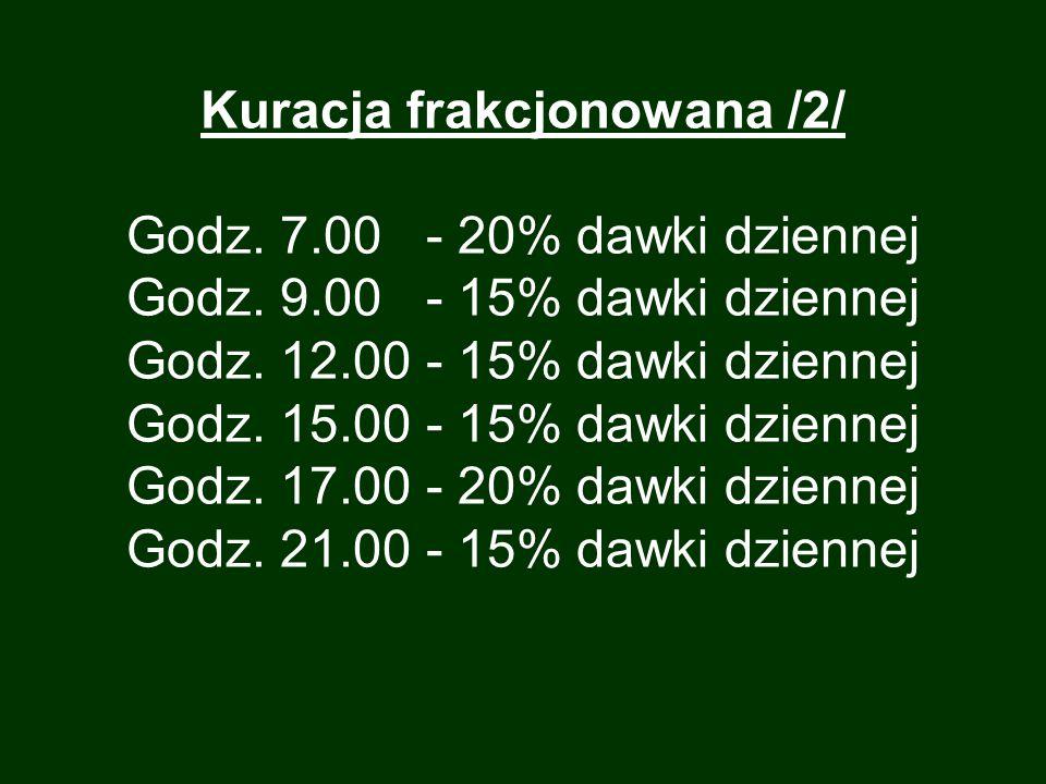 Kuracja frakcjonowana /2/ Godz. 7. 00 - 20% dawki dziennej Godz. 9