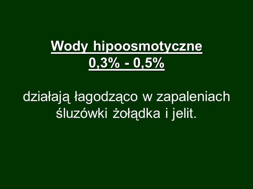 Wody hipoosmotyczne 0,3% - 0,5% działają łagodząco w zapaleniach śluzówki żołądka i jelit.