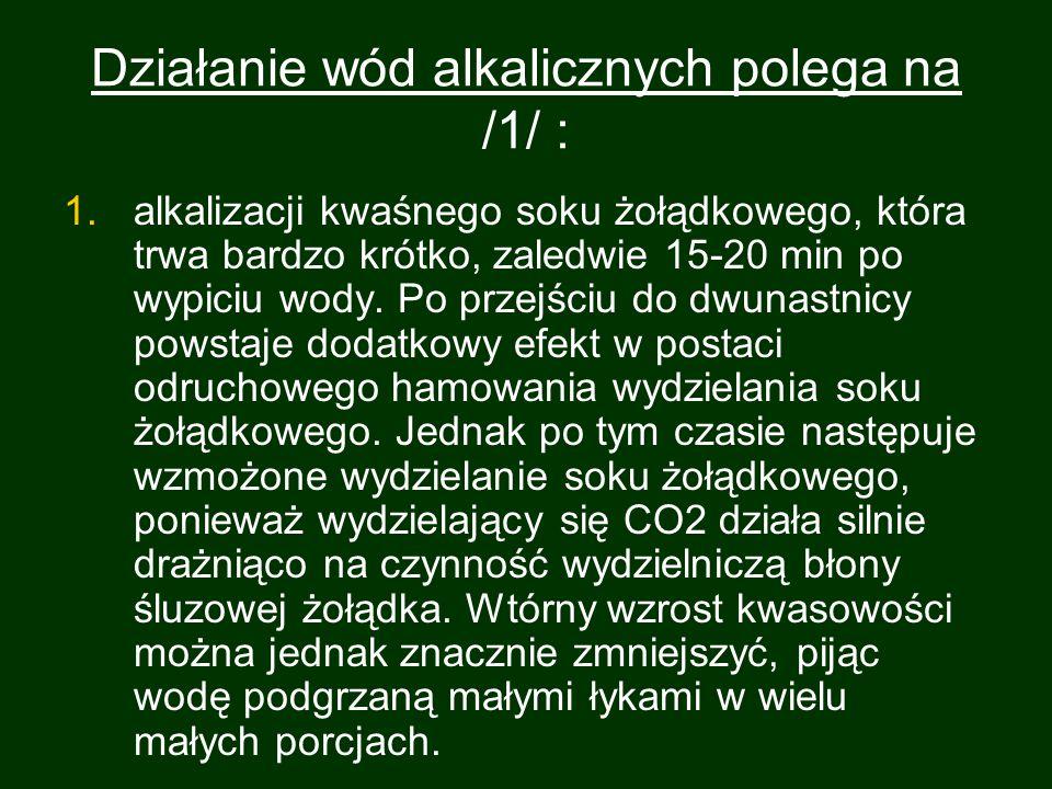 Działanie wód alkalicznych polega na /1/ :