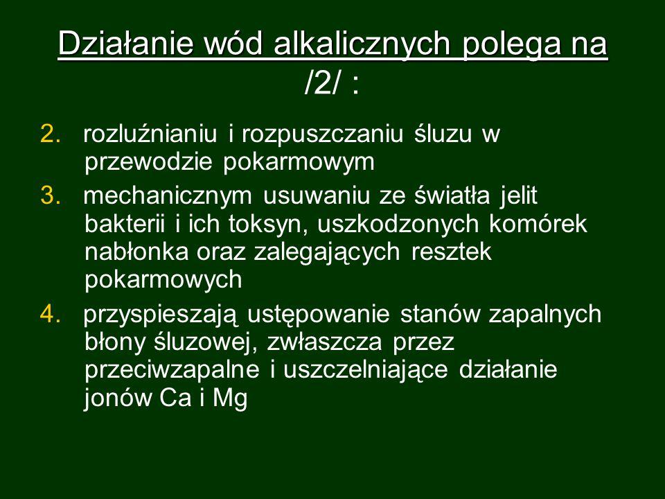 Działanie wód alkalicznych polega na /2/ :