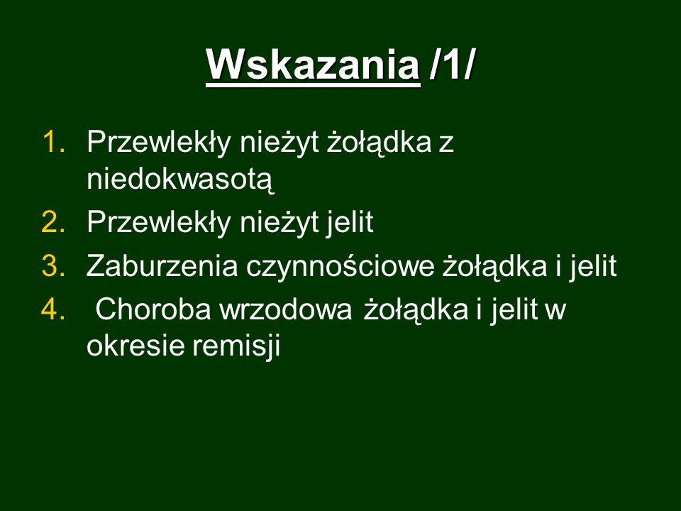 Wskazania /1/ Przewlekły nieżyt żołądka z niedokwasotą
