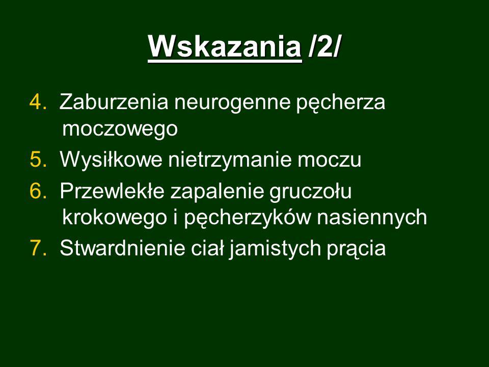 Wskazania /2/ 4. Zaburzenia neurogenne pęcherza moczowego