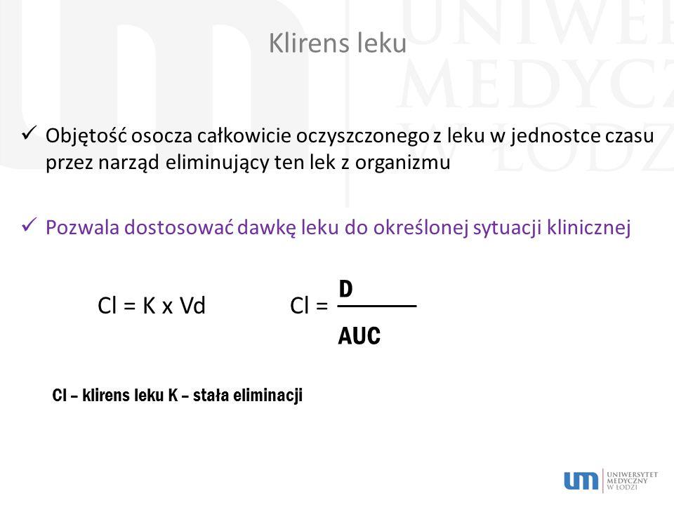 Klirens leku Cl = K x Vd Cl = D AUC