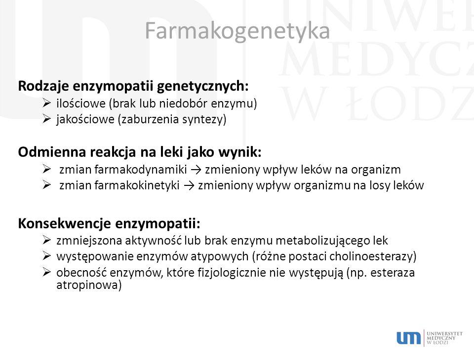 Farmakogenetyka Rodzaje enzymopatii genetycznych: