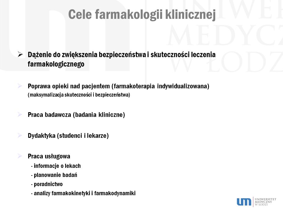 Cele farmakologii klinicznej