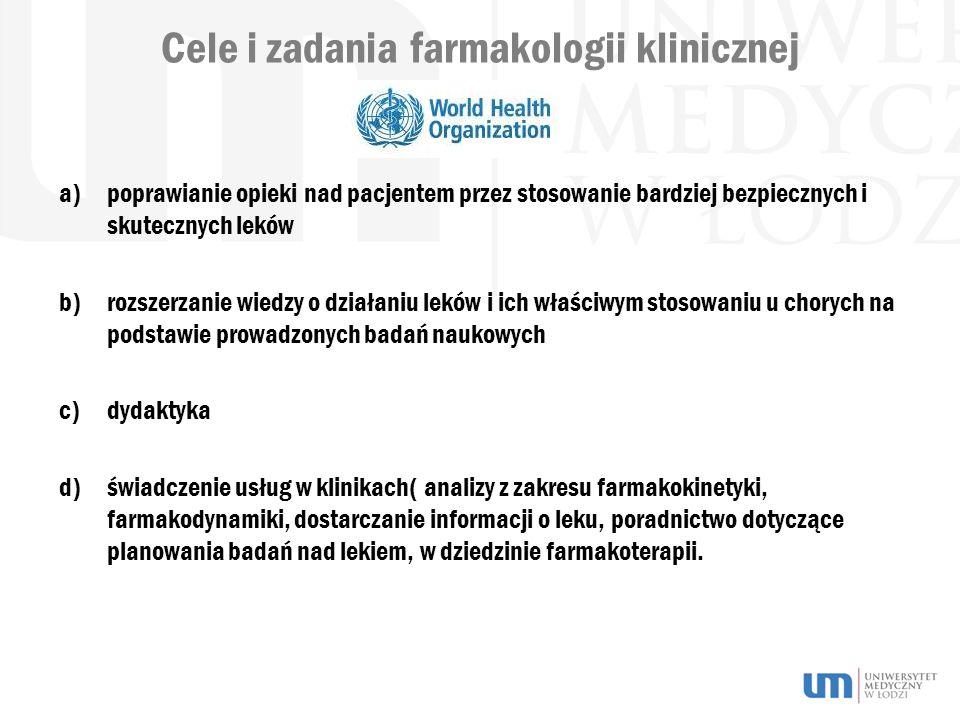Cele i zadania farmakologii klinicznej