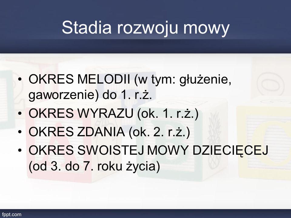 Stadia rozwoju mowy OKRES MELODII (w tym: głużenie, gaworzenie) do 1. r.ż. OKRES WYRAZU (ok. 1. r.ż.)