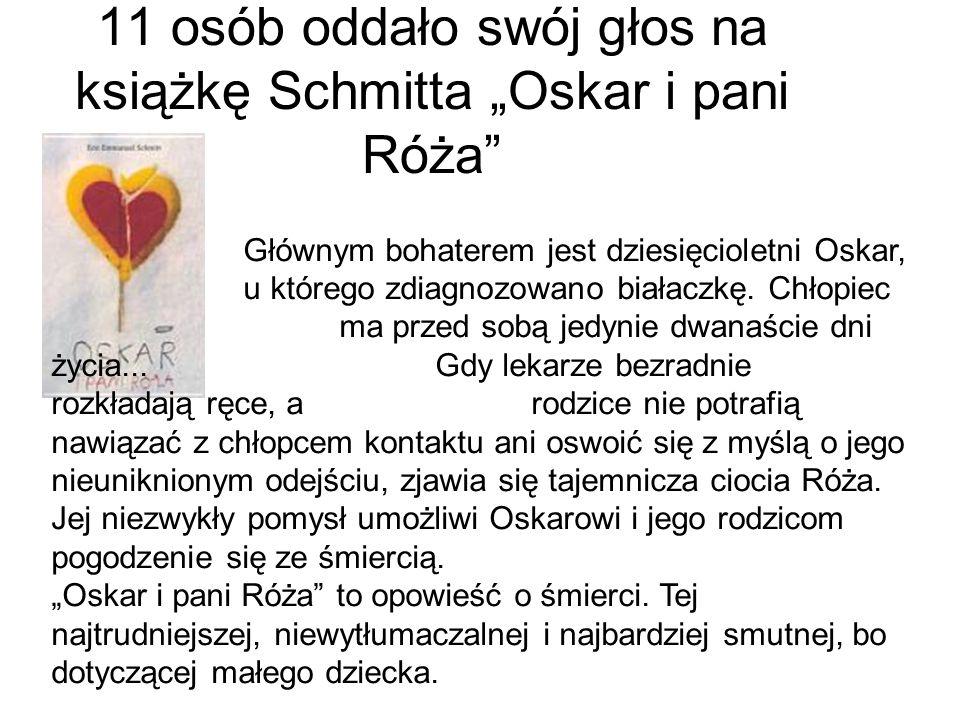 """11 osób oddało swój głos na książkę Schmitta """"Oskar i pani Róża"""