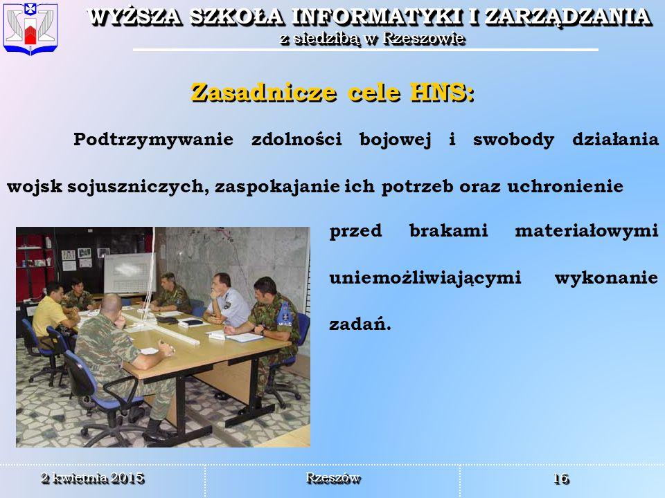 Zasadnicze cele HNS: Podtrzymywanie zdolności bojowej i swobody działania wojsk sojuszniczych, zaspokajanie ich potrzeb oraz uchronienie.