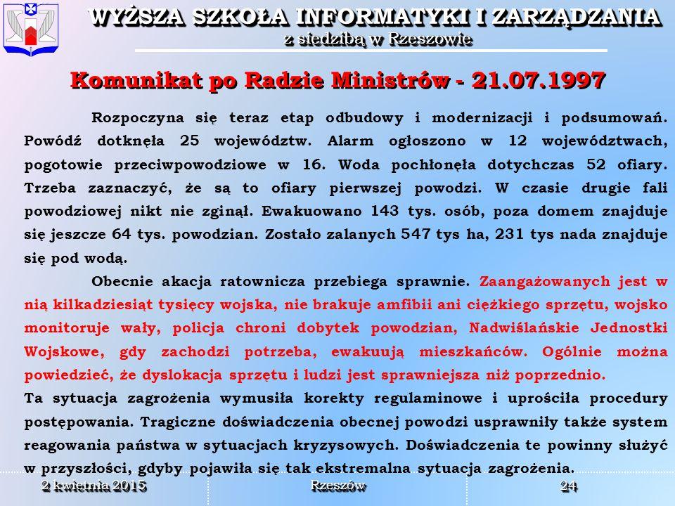 Komunikat po Radzie Ministrów - 21.07.1997