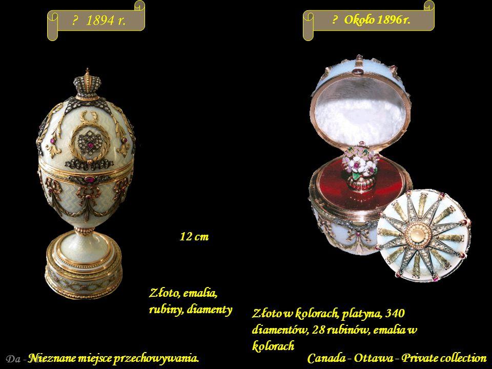 1894 r. Około 1896 r. 12 cm Złoto, emalia, rubiny, diamenty