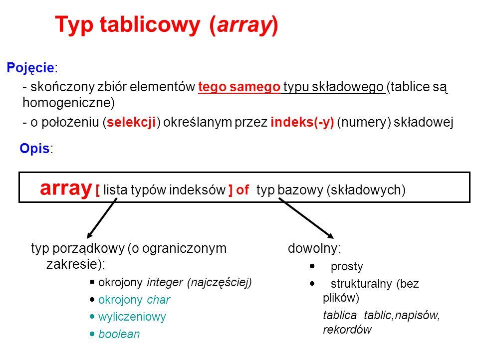 Typ tablicowy (array) Pojęcie: - skończony zbiór elementów tego samego typu składowego (tablice są homogeniczne)