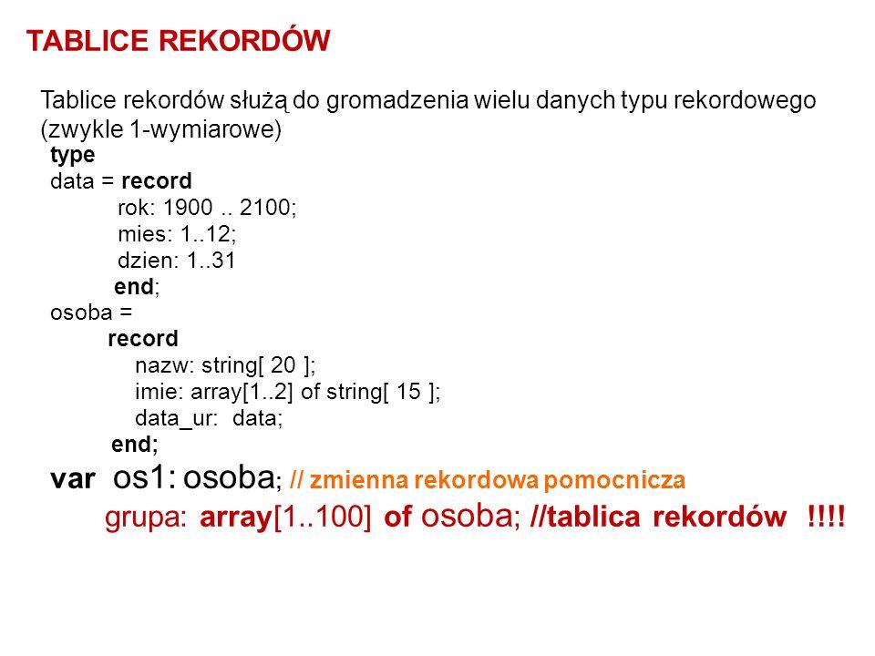 var os1: osoba; // zmienna rekordowa pomocnicza