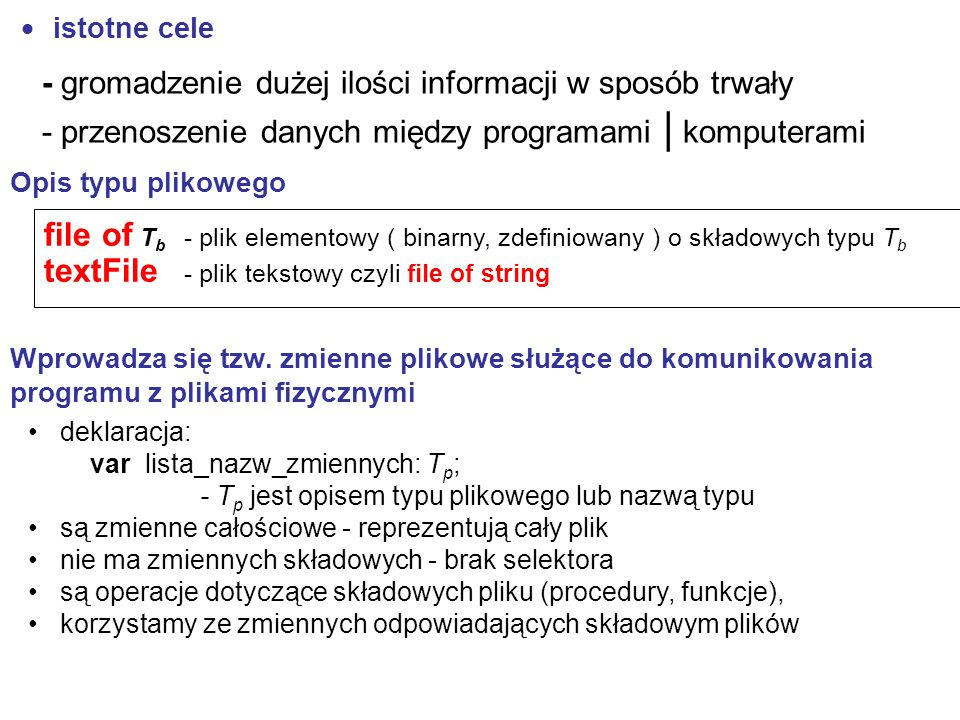 textFile - plik tekstowy czyli file of string