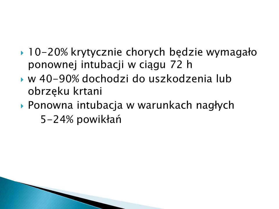 10-20% krytycznie chorych będzie wymagało ponownej intubacji w ciągu 72 h
