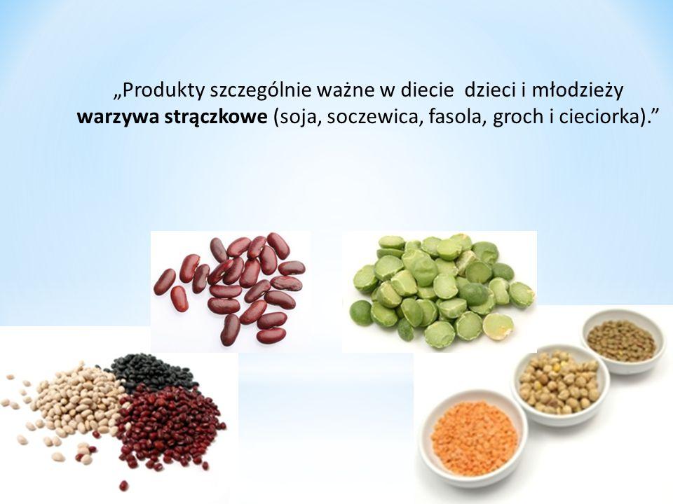 """""""Produkty szczególnie ważne w diecie dzieci i młodzieży warzywa strączkowe (soja, soczewica, fasola, groch i cieciorka)."""