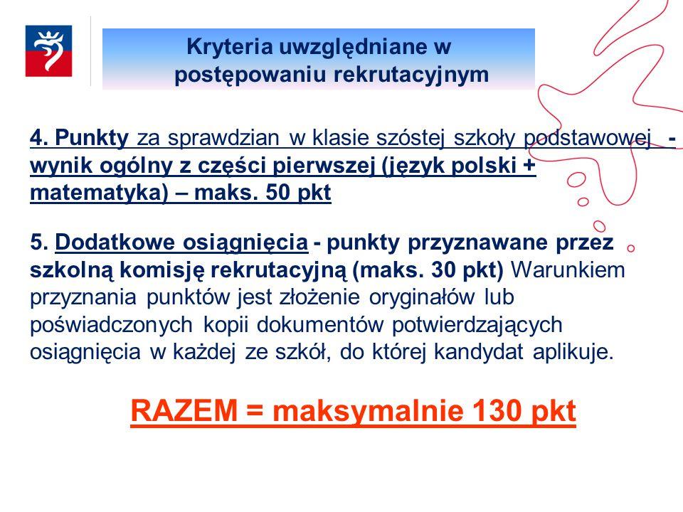 RAZEM = maksymalnie 130 pkt
