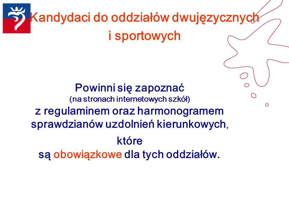 Kandydaci do oddziałów dwujęzycznych i sportowych