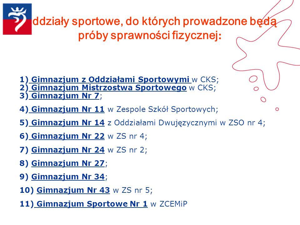 Oddziały sportowe, do których prowadzone będą próby sprawności fizycznej: