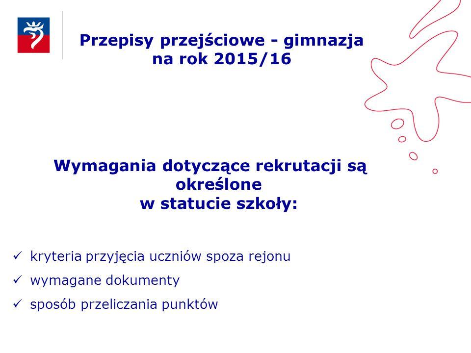 Przepisy przejściowe - gimnazja na rok 2015/16