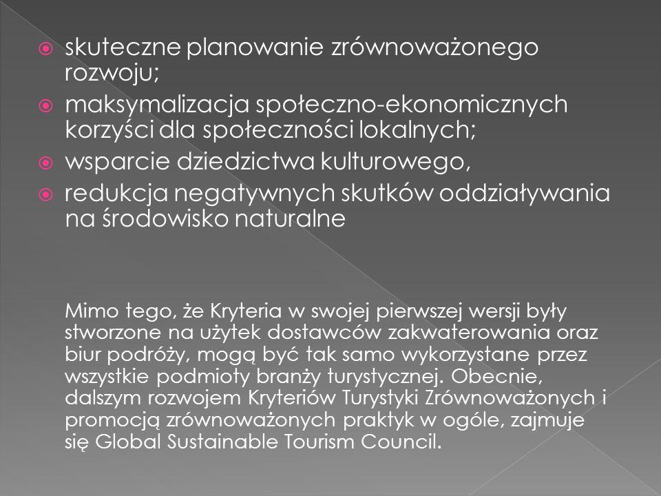 skuteczne planowanie zrównoważonego rozwoju;
