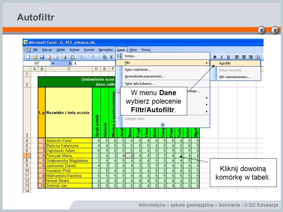 Autofiltr W menu Dane wybierz polecenie Filtr/Autofiltr.