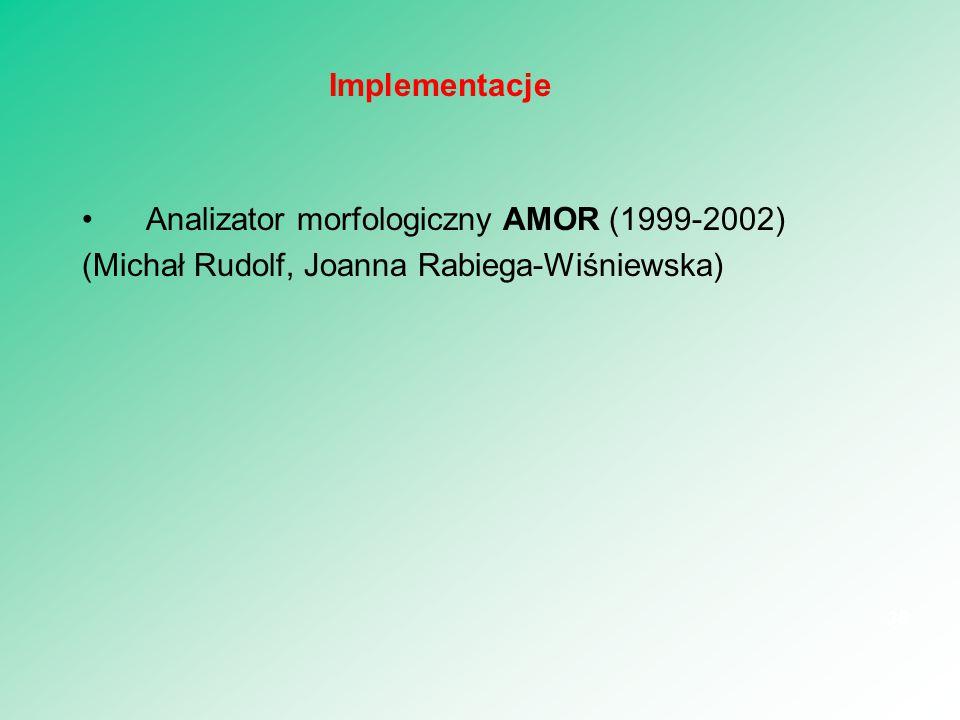 Implementacje Analizator morfologiczny AMOR (1999-2002) (Michał Rudolf, Joanna Rabiega-Wiśniewska)