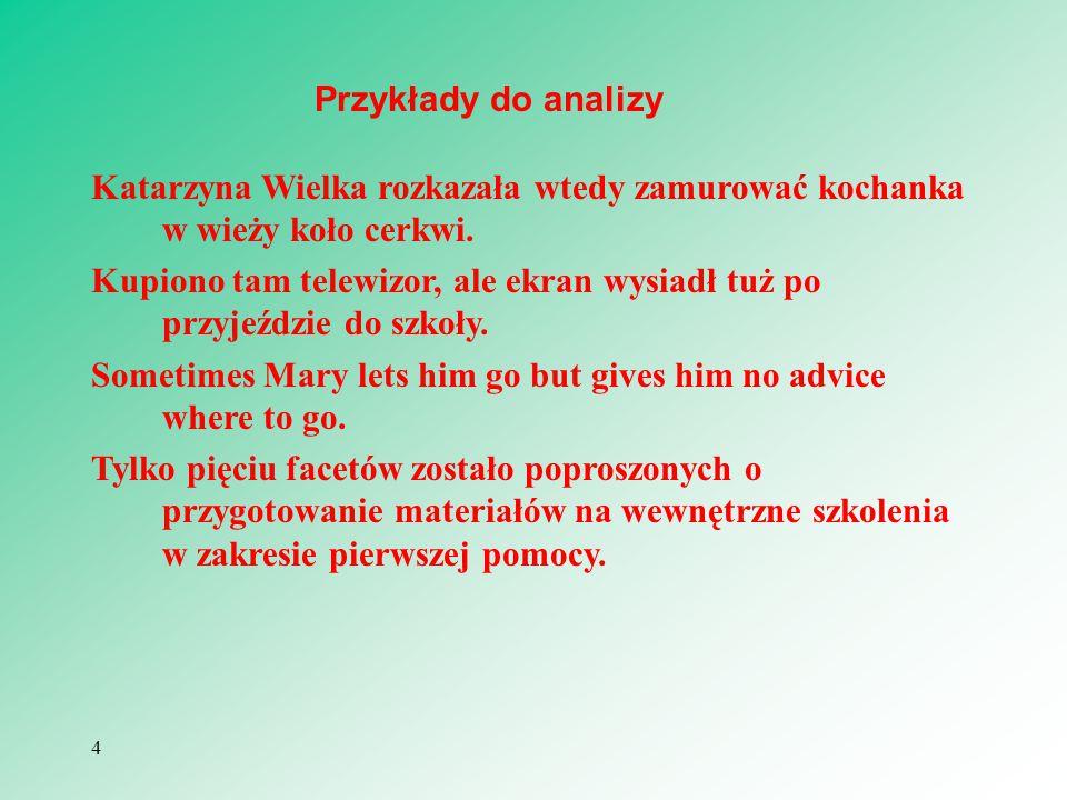Przykłady do analizy Katarzyna Wielka rozkazała wtedy zamurować kochanka w wieży koło cerkwi.