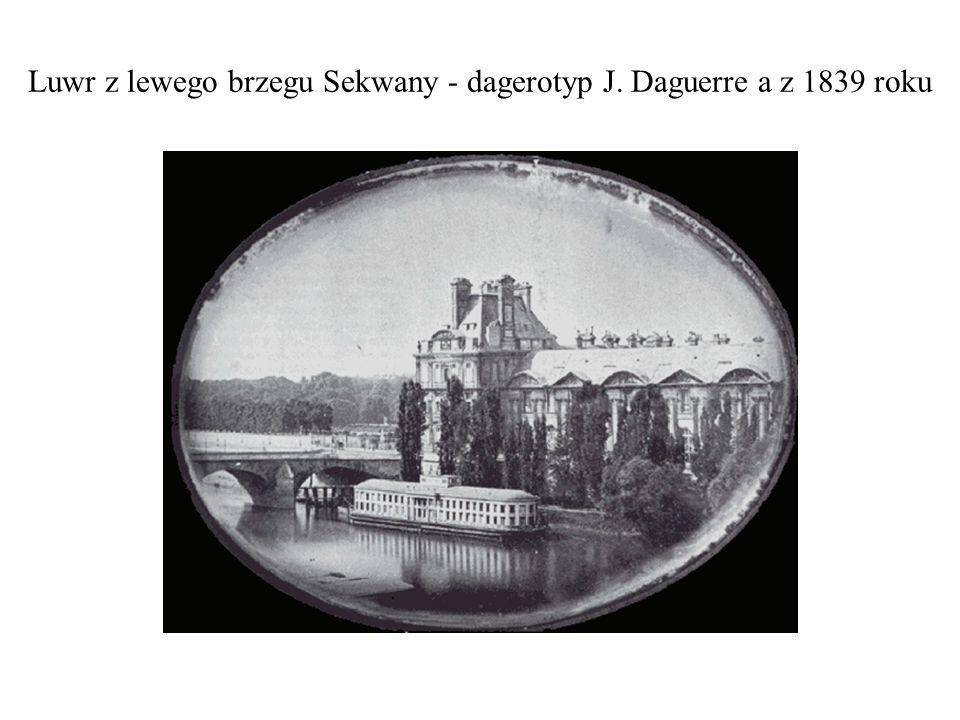 Luwr z lewego brzegu Sekwany - dagerotyp J. Daguerre a z 1839 roku