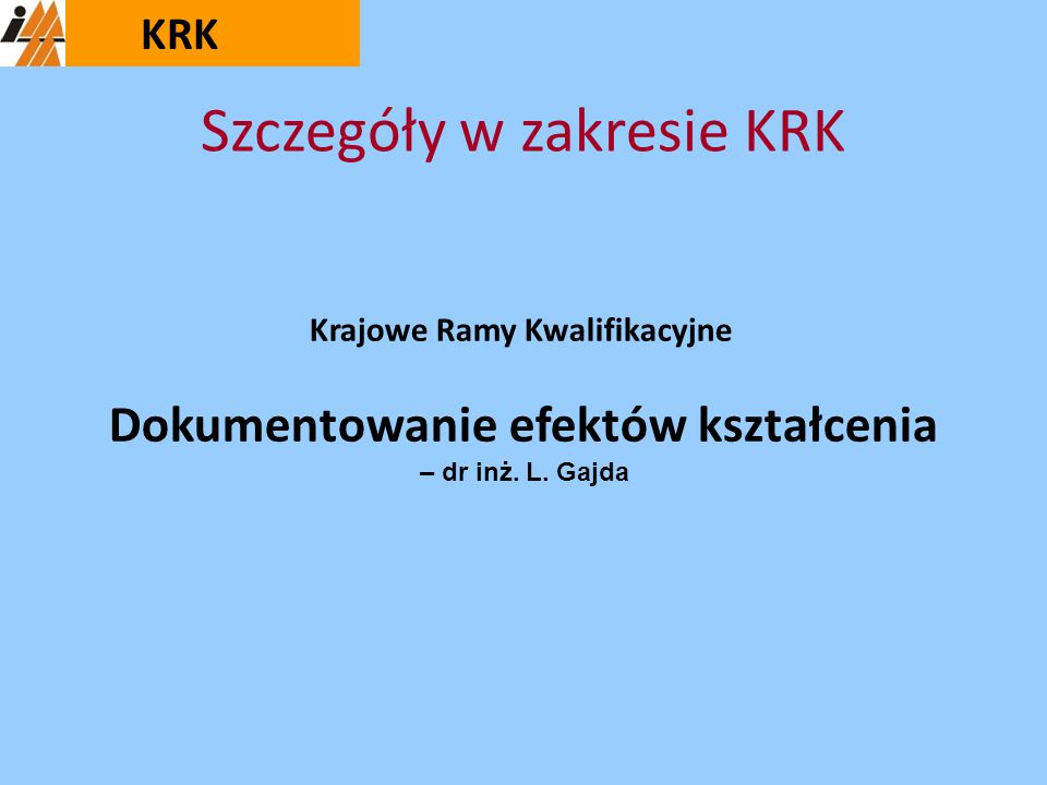 Szczegóły w zakresie KRK
