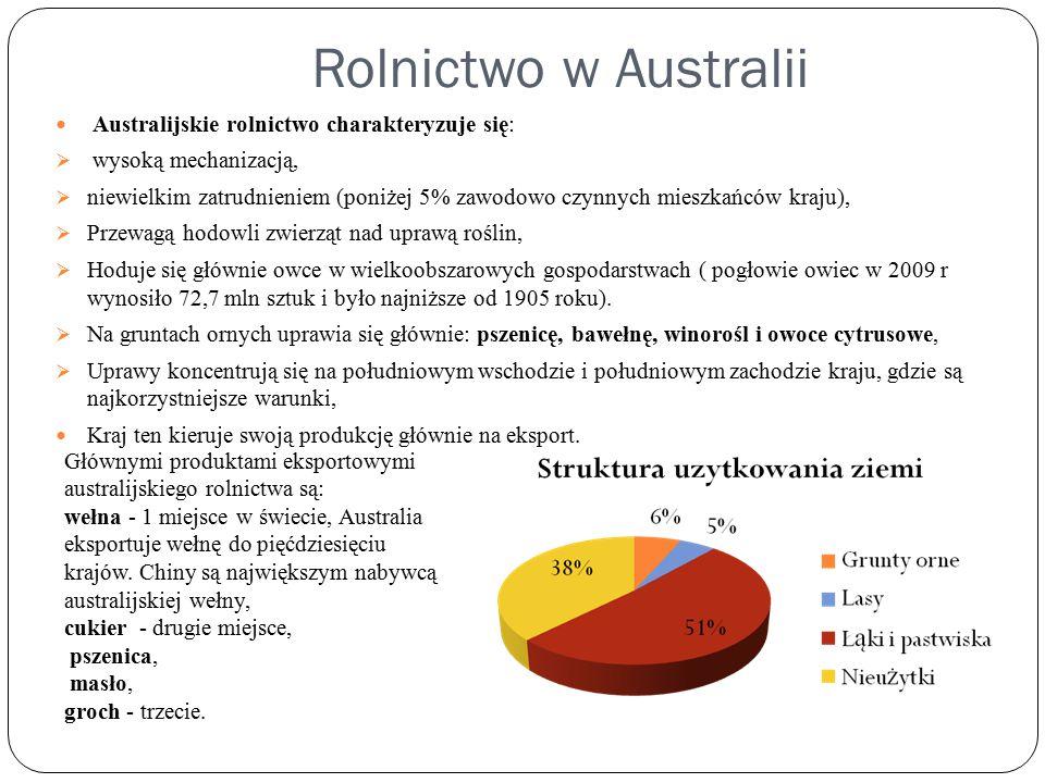 Rolnictwo w Australii Australijskie rolnictwo charakteryzuje się: