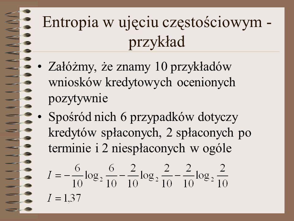 Entropia w ujęciu częstościowym - przykład