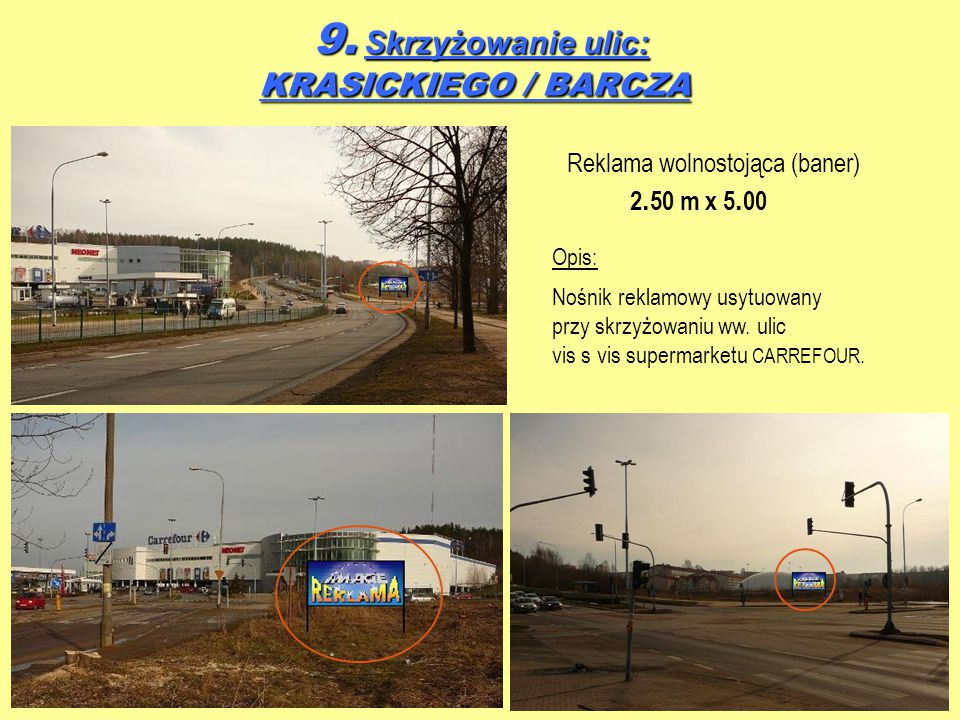 9. Skrzyżowanie ulic: KRASICKIEGO / BARCZA