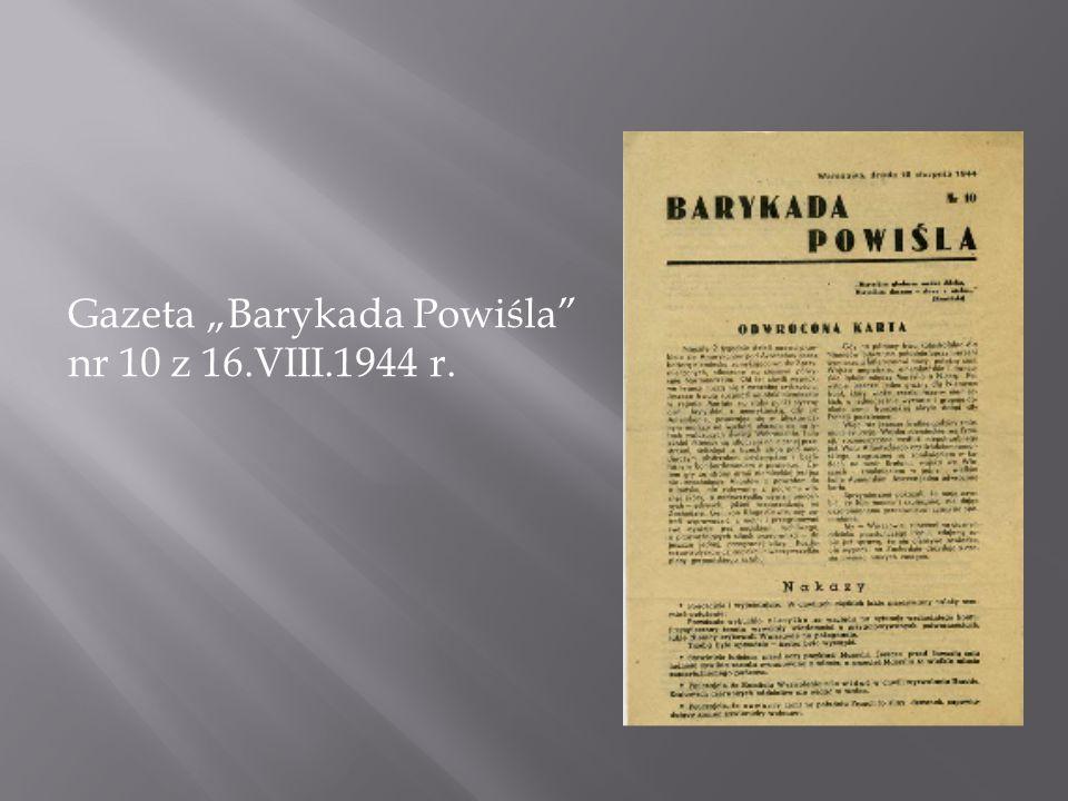 """Gazeta """"Barykada Powiśla nr 10 z 16.VIII.1944 r."""