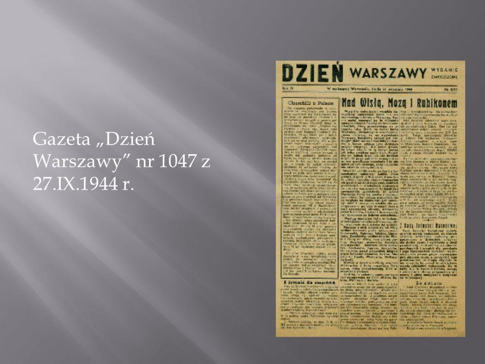 """Gazeta """"Dzień Warszawy nr 1047 z 27.IX.1944 r."""