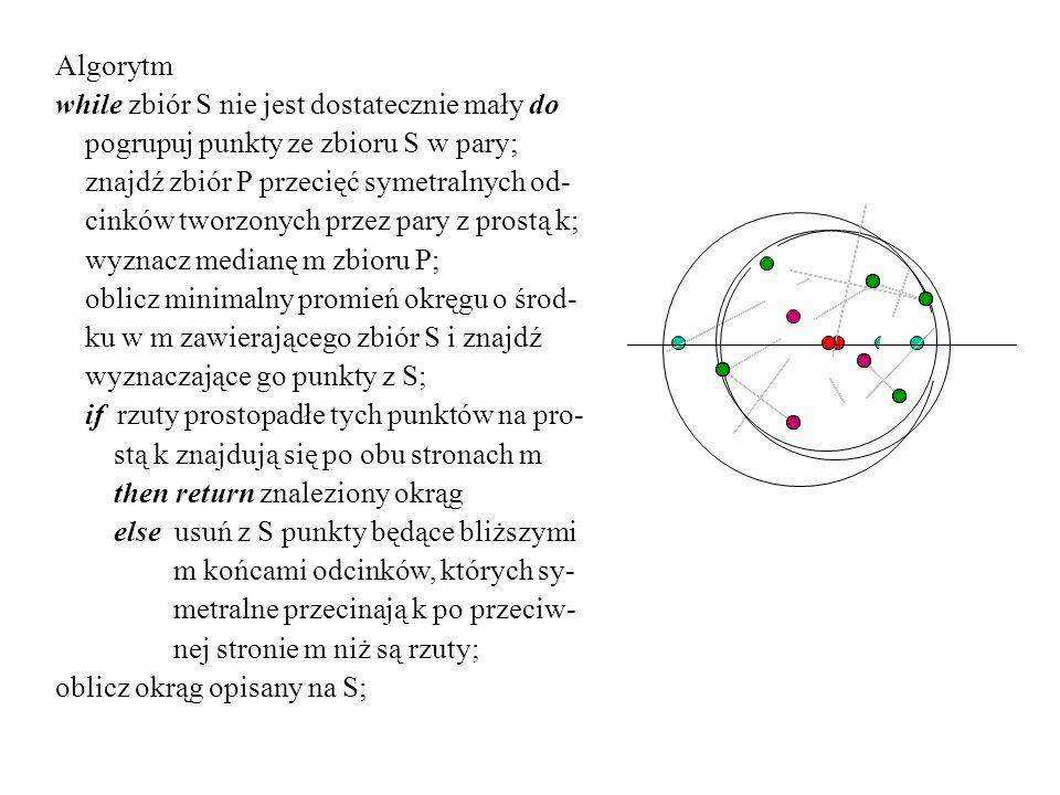 Algorytm while zbiór S nie jest dostatecznie mały do. pogrupuj punkty ze zbioru S w pary; znajdź zbiór P przecięć symetralnych od-