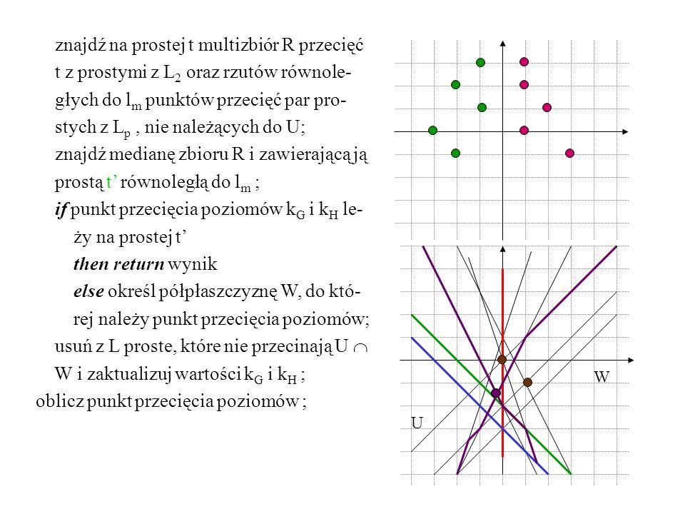 znajdź na prostej t multizbiór R przecięć