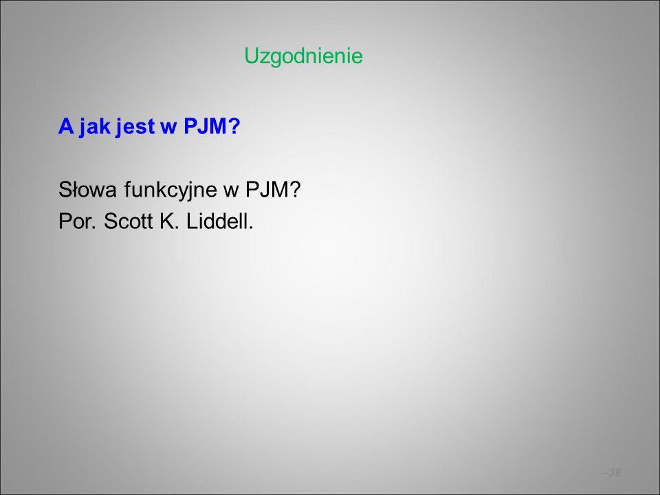 Uzgodnienie A jak jest w PJM Słowa funkcyjne w PJM