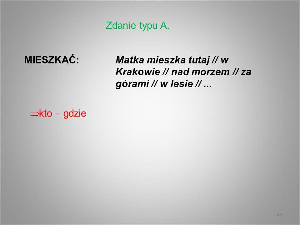 Zdanie typu A. MIESZKAĆ: Matka mieszka tutaj // w Krakowie // nad morzem // za górami // w lesie // ...