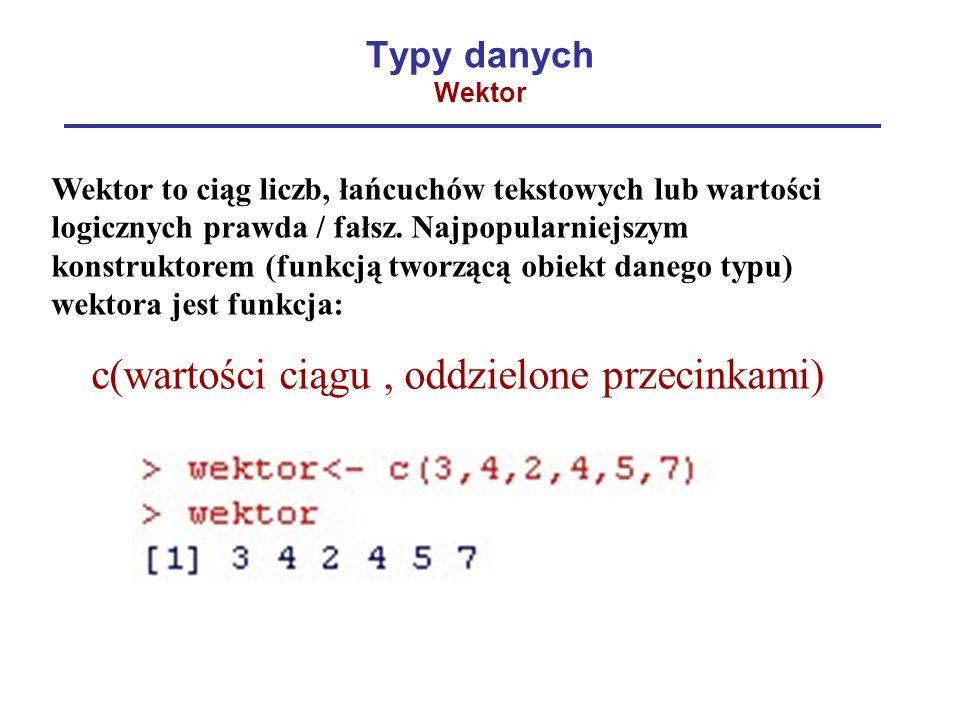 Typy danych Wektor
