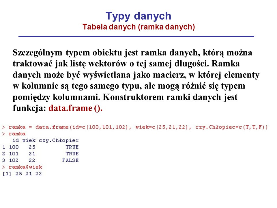 Typy danych Tabela danych (ramka danych)