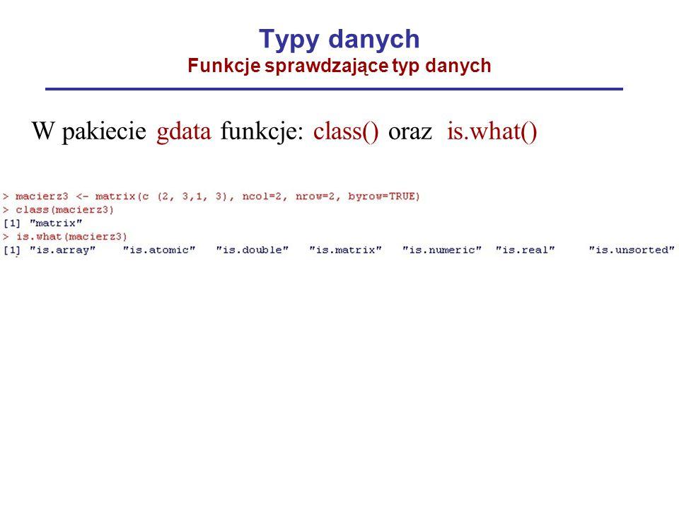 Typy danych Funkcje sprawdzające typ danych