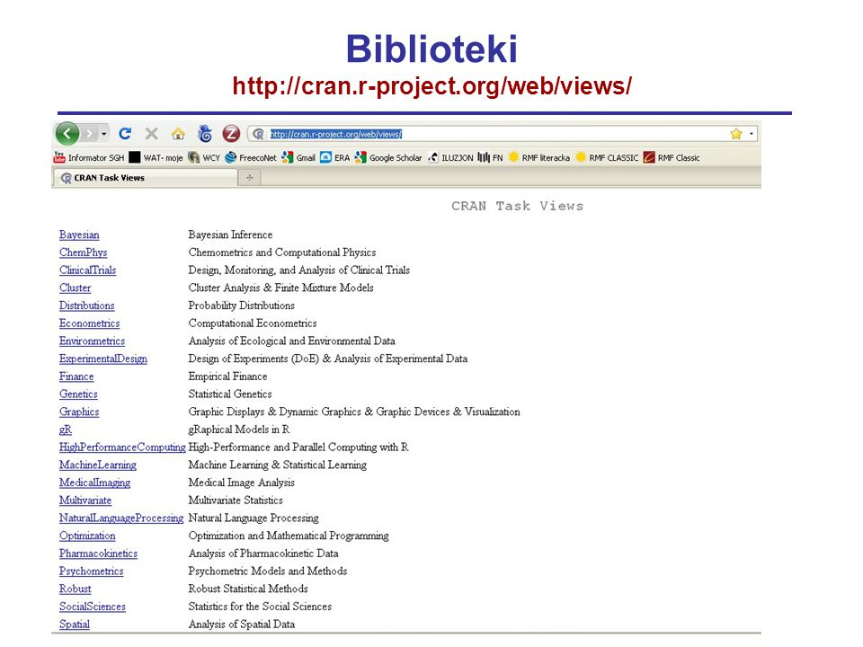 Biblioteki http://cran.r-project.org/web/views/