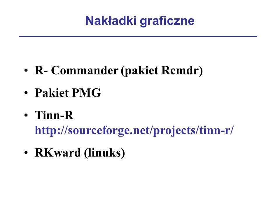 Nakładki graficzne R- Commander (pakiet Rcmdr) Pakiet PMG. Tinn-R http://sourceforge.net/projects/tinn-r/