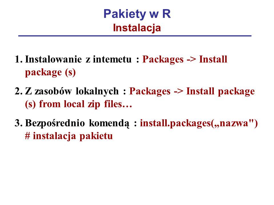 Pakiety w R Instalacja Instalowanie z intemetu : Packages -> Install package (s)
