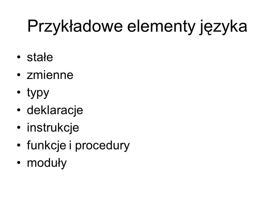 Przykładowe elementy języka