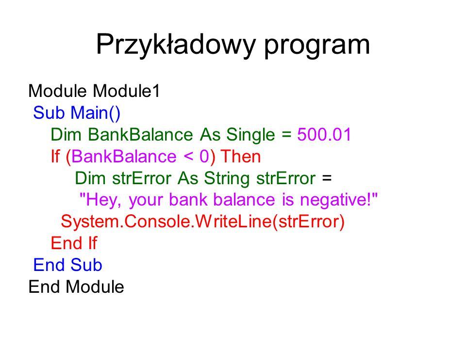 Przykładowy program Module Module1 Sub Main()