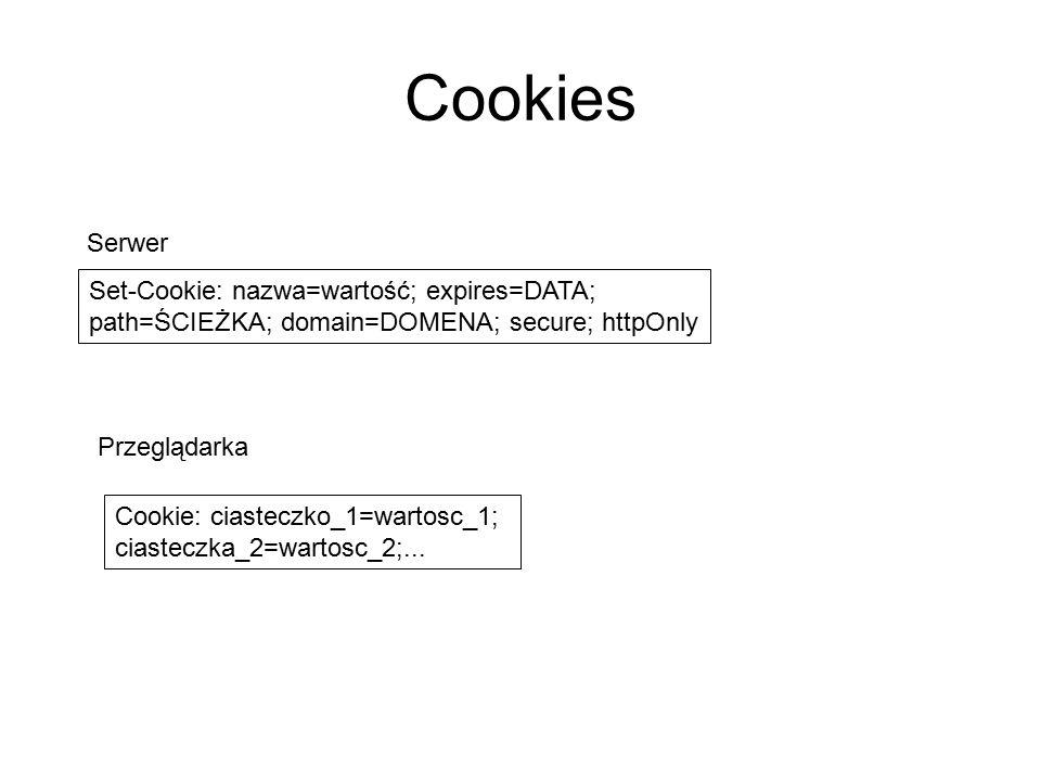 Cookies Serwer Set-Cookie: nazwa=wartość; expires=DATA;