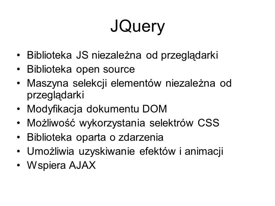 JQuery Biblioteka JS niezależna od przeglądarki Biblioteka open source
